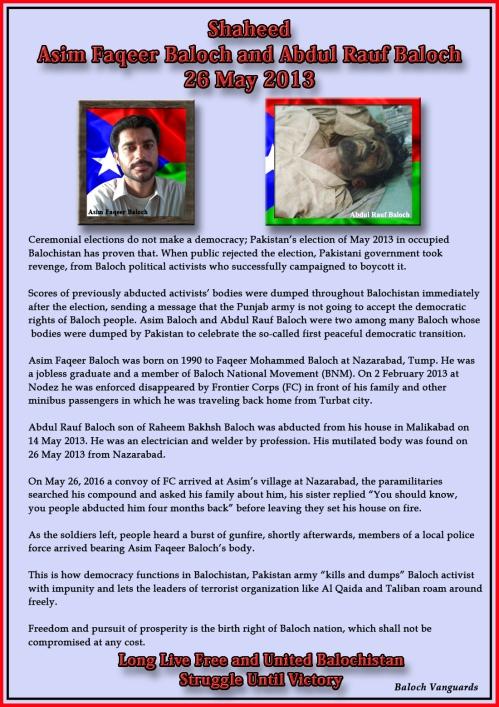 Shaheed Asim Fakeer Baloch and Abdul Rauf Baloch