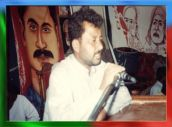 Shaheed Rasool Baksh Mengal delivering a speech in a public meeting