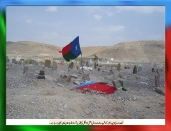 Free Balochistan flag is waving at the Martyred leader of BNM Rasool Baksh Mengal grave in Khuzdar