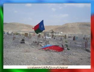 Free Balochistan flag is waving at the Martyred leader of BNM Rasool Baksh Mengal grave in Khuzdar