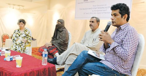 Author of 'The Baloch who is not missing and others who are' Mohammed Hanif speaking at the event organized by the Human Rights Commission of Pakistan at the Arts Council on Wednesday evening.—White Star