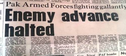 Headline of Pakistan Observer just three days before surrender