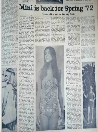 In order to give a semblance of the situation under control while the war was ravaging major parts of East Pakistan, Morning News published a feature on the popularity of miniskirts