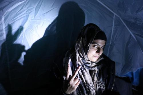 Omera Baloch in an informal refugee encampment in Lesbos, Greece