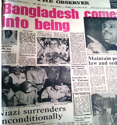 Pakistan Observer becomes Observer as East Pakistan becomes Bangladesh