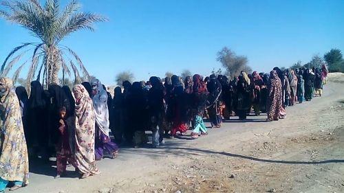 Baloch woman demo at Zarren Bug check post