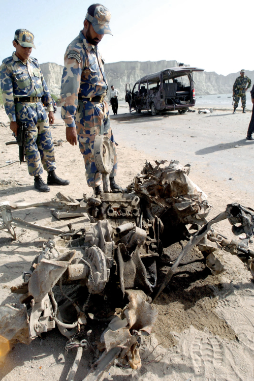 wreckage of the 2004 car bomb that killed three Chinese engineers in Gwadar