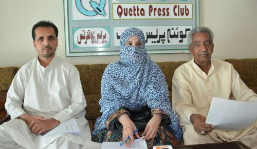Press Conference which caused her house burnt for the fourth time. Bibi Gul (in middle), Nasrullah (on right side) and Mama Qadeer (Left). (Photo: From BHRO tweets)