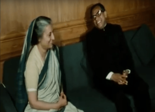 Abdus Samad Azad, the first foreign minister of Bangladesh, with Indira Gandhi in New Delhi in 1972