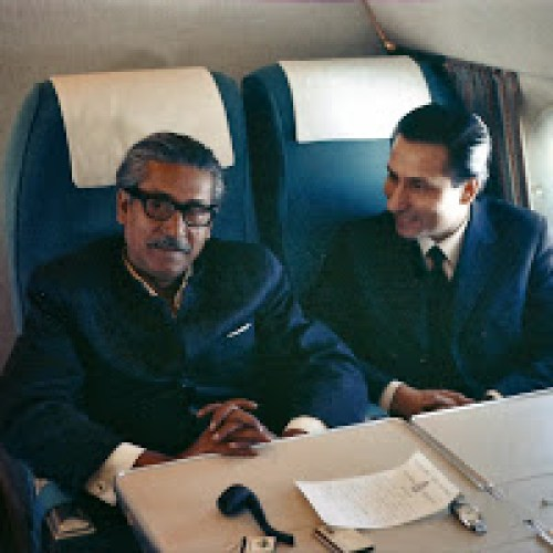 Sashanka S. Banerjee (right) with Mujibur Rahman flying on a Royal Air Force VIP Comet Jet on January 9, 1972 from London to New Delhi and then on to Dhaka, arriving on the soil of Bangladesh on January 10, 1972 to a tumultuous welcome at Romna Maidan